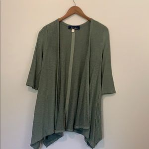 Green cardigan with back button detail